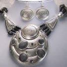 Chunky Black Gray Grey Semiprecious Multistrand Necklace Set
