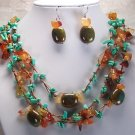 Western Brown Blue Turquoise Mixed Bead Necklace Set