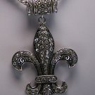French Fleur De Lis Flower Crystal Necklace Set