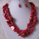 Western Red Turquoise Natural Gemstone Layered Necklace Set
