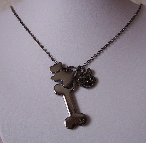 Scottish Terrier Dog Animal Lover Bone Paw Necklace