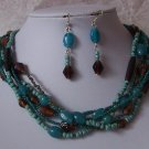 Brown Blue Multistrand Necklace Set