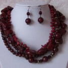 Red Burgundy Multistrand Necklace Set