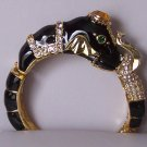 Black Safari Crystal Elephant Animal Print Bangle Bracelet