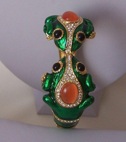 3D Two Headed Bull Frog Animal Print Crystal Bangle Bracelet