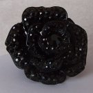 Blacky Chunky Rose Flower Floral Crystal Cocktail Ring