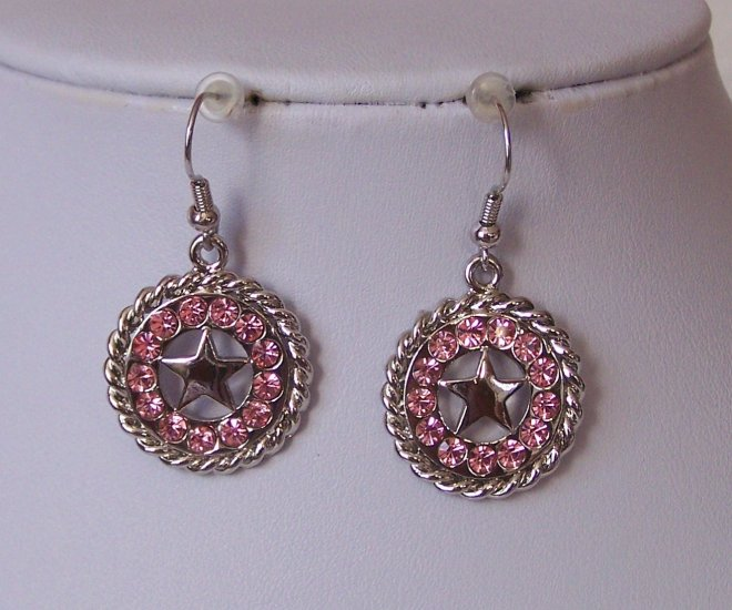 Pink Western Rodeo Crystal Rodeo Texas Lonestar Star Earrings