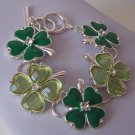 St Saint Patricks Day Four Leaf Clover Irish Shamrock Crystal Bracelet