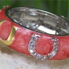 SALMON WESTERN 14KP GOLD HORSESHOE ETERNITY CZ RING SIZE 10