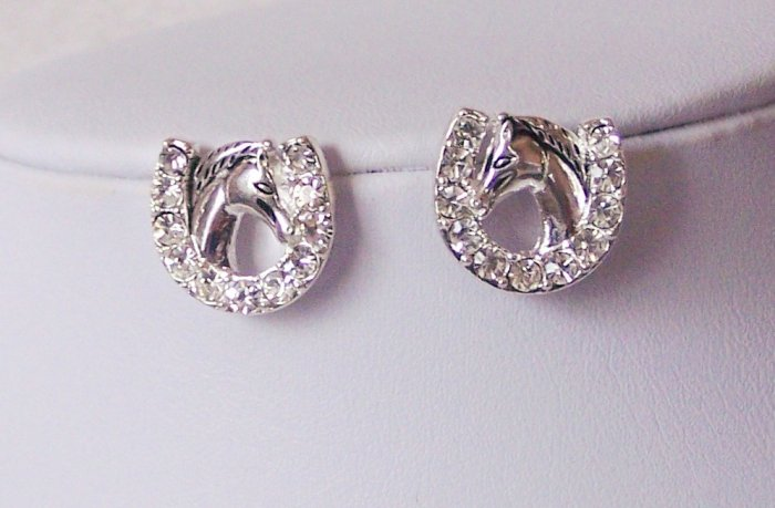 Western Rodeo Texas Clear Crystal Horse Shoe Horseshoe Earrings