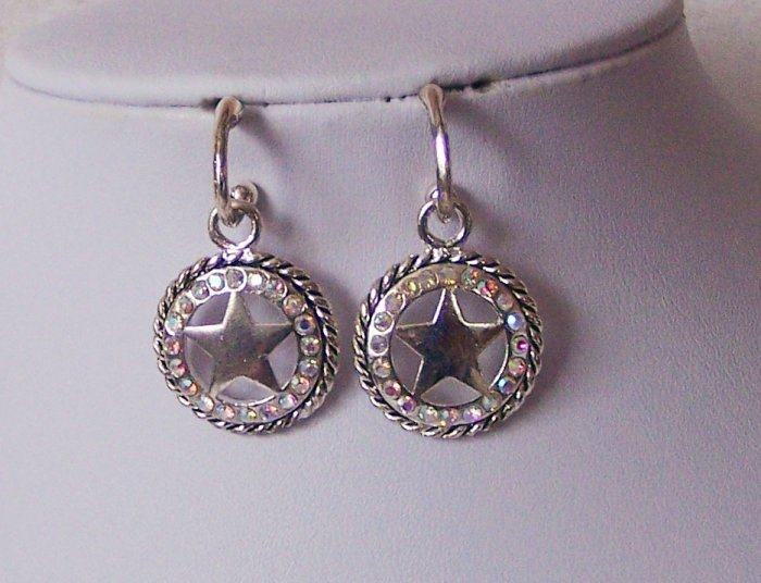 AB Aurora Borealis Lone Star Western Rodeo Crystal Rodeo Texas Lonestar Star Earrings