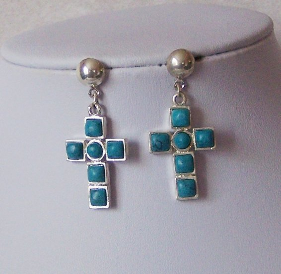 Western Blue Cross Religious Turquoise Earrings