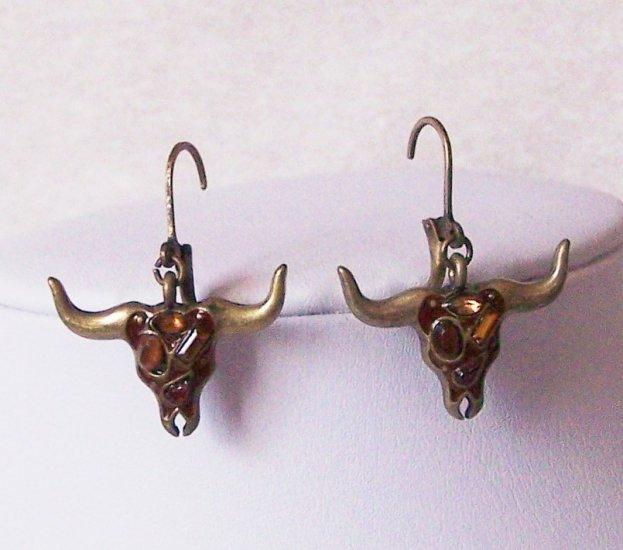 Western Brown Rhinestone Bull Steer Texas Longhorn Rodeo Earrings