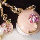 PINK 3D  CUPCAKE CRYSTAL LOCKET HANDBAG PURSE KEYCHAIN