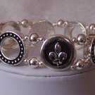 French Fleur De Lis Flower Bangle Bracelet