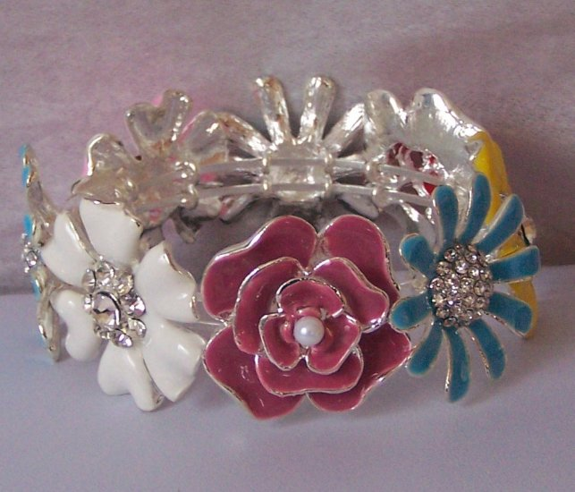 Multicolor Flower Floral Rose Daisy Blue Yellow Pink Red Bangle Bracelet