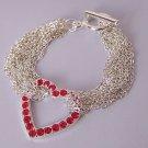 Red Heart Love Crystal Multistrand Valentines Day Bracelet