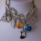 Chunky World Travel Airplane Traveler Globe Guitar Eiffel Tower Charm Bracelet