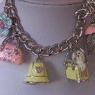 Multicolor Ladies Stuff Dog Doggy FLower Hat Handbag Purse Charm Crystal Bracelet