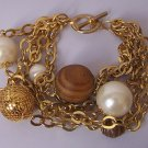 Brown Faux Pearl Wood Multistrand Bracelet