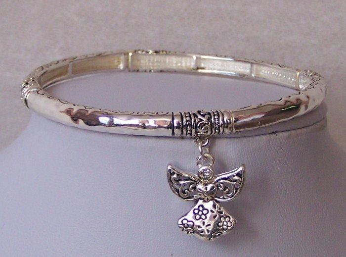 Guardian Angel Heart Love Bangle Bracelet