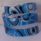 Blue Gray Grey Black Wide Spiral Bangle Bracelet