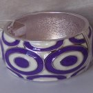 Purple White Circle Metal Hinge Bangle Bracelet
