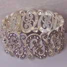Filigree Silver Tone Antique Style Marcasite Look Wide Bangle Bracelet