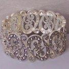 Filigree Silver Tone Antique Style Marcasite Look Wide Bangle Bracelet