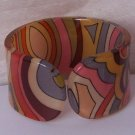 Brown Gray Grey Multicolor Green Wide Bangle Bracelet