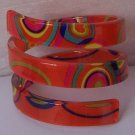 Orange Red Blue Green Yellow Multicolor Wide Spiral Bangle Bracelet