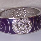 Purple Clear Crystal Spiral Wide Metal Hinge Bangle Bracelet