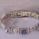 Blue Rhinestone Crystal Bangle Bracelet