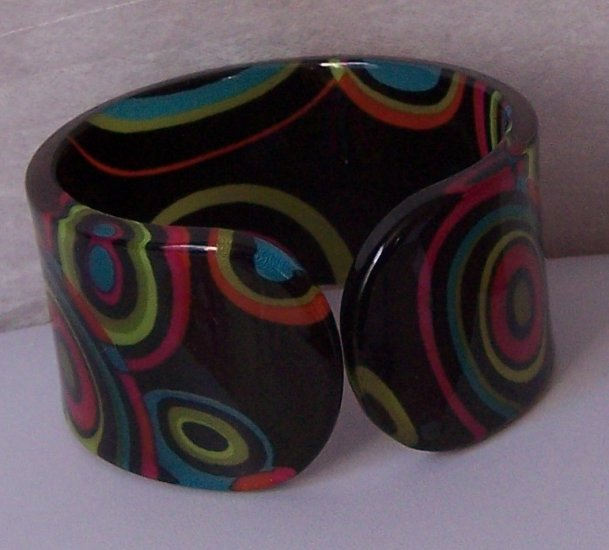 Black Green Hot Pink Blue Multicolor Wide Spiral Bangle Bracelet
