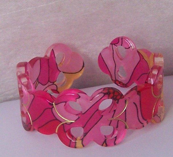 Pink Black Yellow Multicolor Wide Spiral Bangle Bracelet
