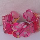 Pink Black Yellow Multicolor Wide Spiral Bangle Bracelet