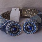 Blue Crystal Marble Style Metal Hinge Bangle Bracelet