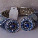 Blue Crystal Marble Style Metal Hinge Bangle Bracelet