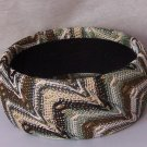Brown White Tan Green Fabric Bangle Bracelet