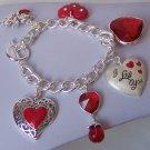 Chunky Red Valentines Day Heart Rhinestone Charm Bracelet