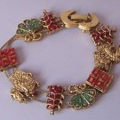 Oriental Asian Fan Buildings Antique Look Gold Tone Bracelet