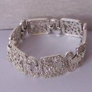 Filigree Silver Tone Link Antique Style Marcasite Look Wide Bangle Bracelet