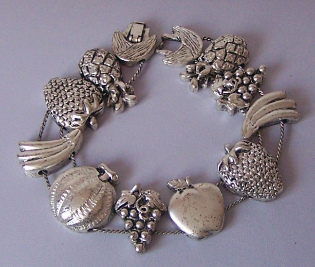 Fruit Vegetables Banana Grapes Apple Pearl Pineapple Antique Look Silver Tone Bracelet