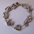 Ice Hockey Lover Player Antique Look Silver Tone Bracelet
