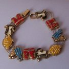 Scuba Diving Equipment Diver Fish Antique Look Gold Tone Bracelet