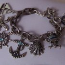 Blue Skull Pirate Shell Anchor Sailboat Crystal Charm Bracelet