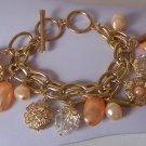 Peach Light Orange Flower Faux Pearl Charm Bracelet