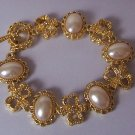 Off White Oval Faux Pearl Gold Plated Bracelet