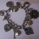 Antique Style Alexander the Great French Heart Love Key Horseshoe Charm Bracelet