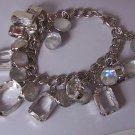 Silver Tone AB Aurora Borealis Clear Rhinestone Cha Cha Charm Bracelet